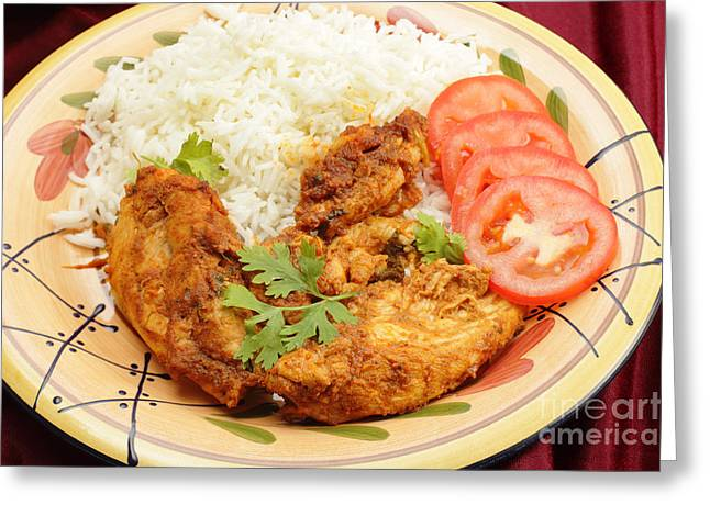 Basmati Greeting Cards - Kashmiri chicken with rice Greeting Card by Paul Cowan