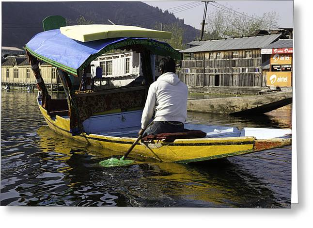 Ply Greeting Cards - Kashmiri man driving this shikara in the still waters of the Dal Lake Greeting Card by Ashish Agarwal