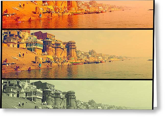 River Photographs Pyrography Greeting Cards - Kasi Ganga River Greeting Card by Girish J