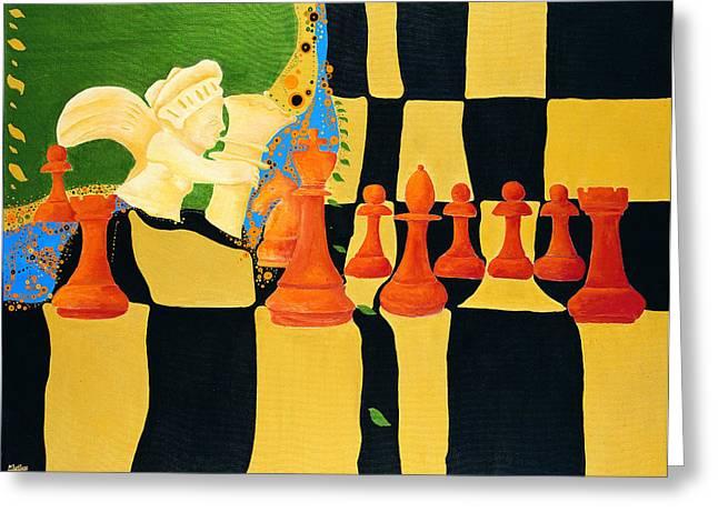 A Game Of Chess Greeting Cards - Kasparov-Karpov Greeting Card by Nicolas Sphicas