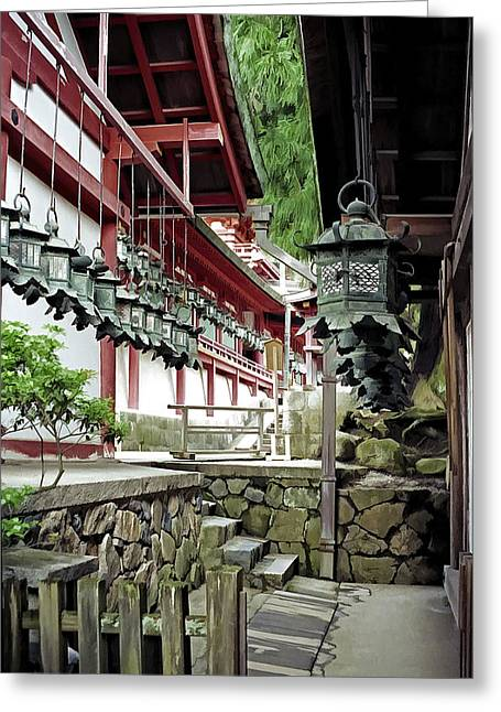 Shogun Photographs Greeting Cards - Kasuga Lantern Shrine - Nara Japan Greeting Card by Daniel Hagerman