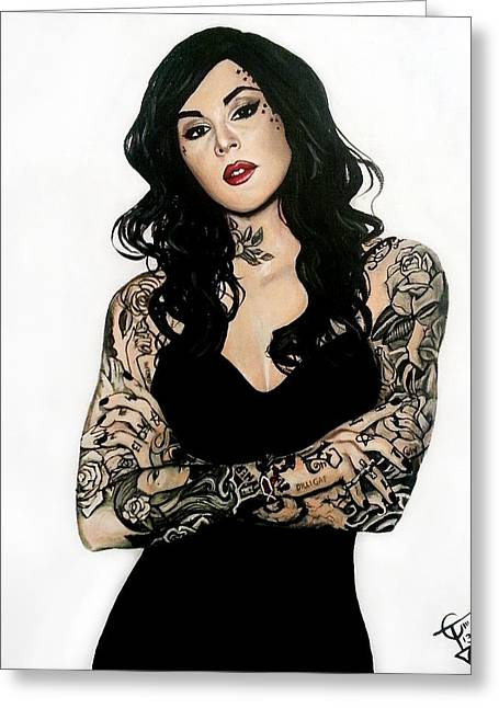Kat Greeting Cards - Kat Von D Greeting Card by Tom Carlton