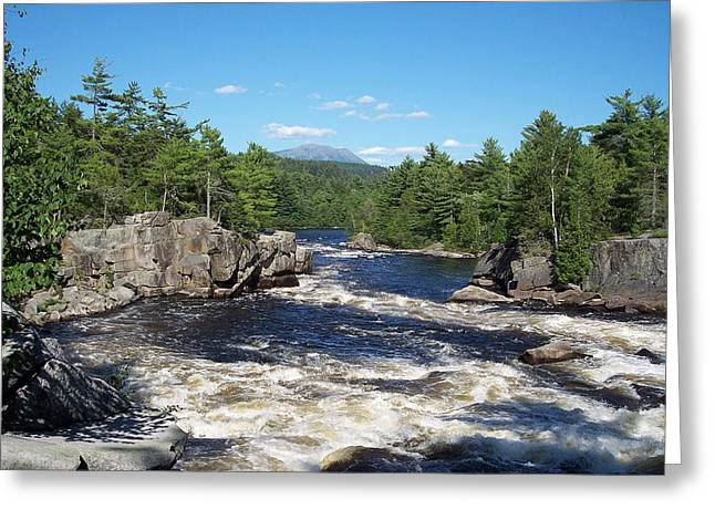 White River Pastels Greeting Cards - Katahdin and the Crib Works Greeting Card by Georgia Hamlin