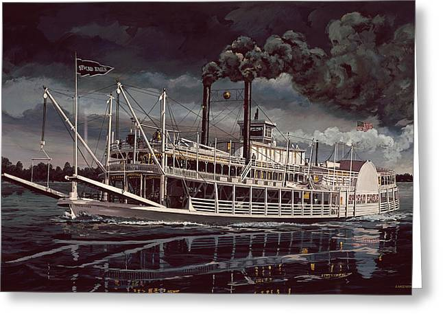 Steam Ship Greeting Cards - Spread Eagle Steamboat Night Greeting Card by Don  Langeneckert