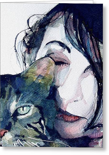 Kate And Her Cat Greeting Card by Paul Lovering