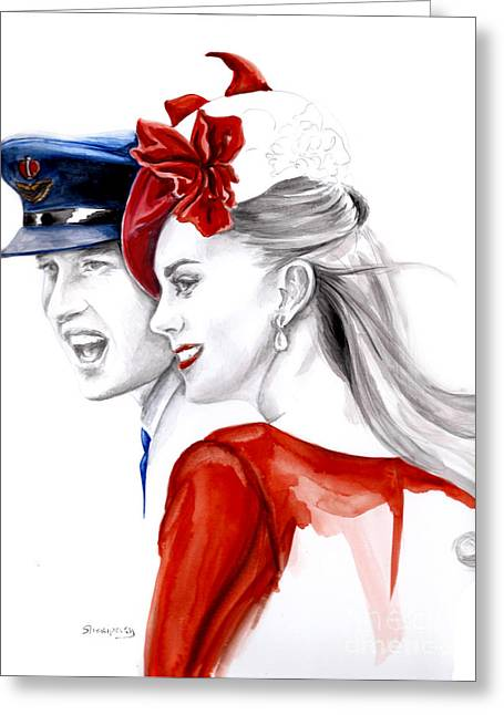 William And Kate Greeting Cards - Kate and William Greeting Card by Elina Sheripova