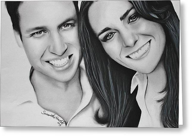 Kate Middleton Drawings Greeting Cards - Kate and William Greeting Card by Samantha Howell