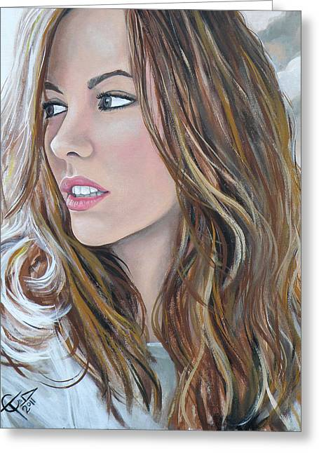 Kate Greeting Cards - Kate Beckinsale Greeting Card by Tom Carlton