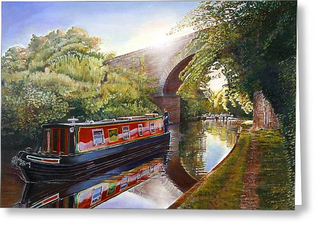 Barge Greeting Cards - Kate Boat On The Grand Union Canal, 2001 Oil On Canvas Greeting Card by Kevin Parrish
