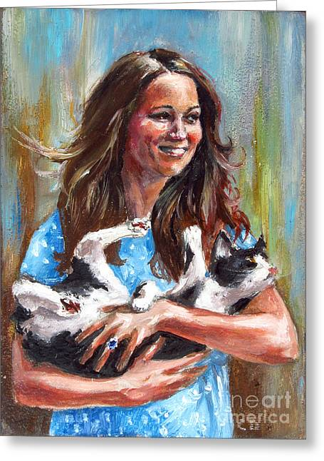 Kate Middleton Paintings Greeting Cards - Kate Middleton Duchess of Cambridge and her royal baby cat Greeting Card by Daniel Cristian Chiriac