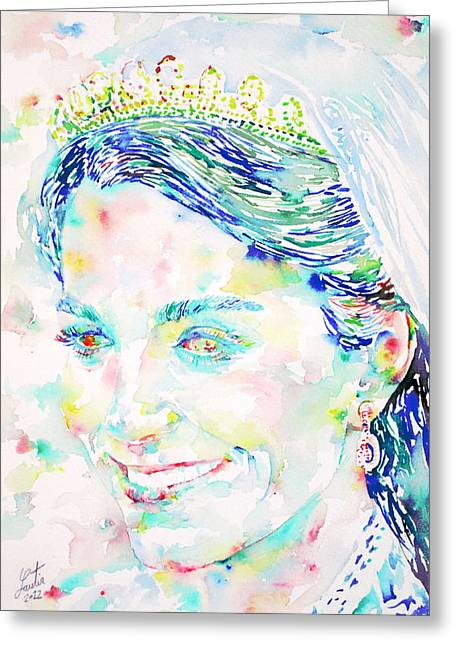 Kate Middleton Paintings Greeting Cards - Kate Middleton Portrait.2 Greeting Card by Fabrizio Cassetta