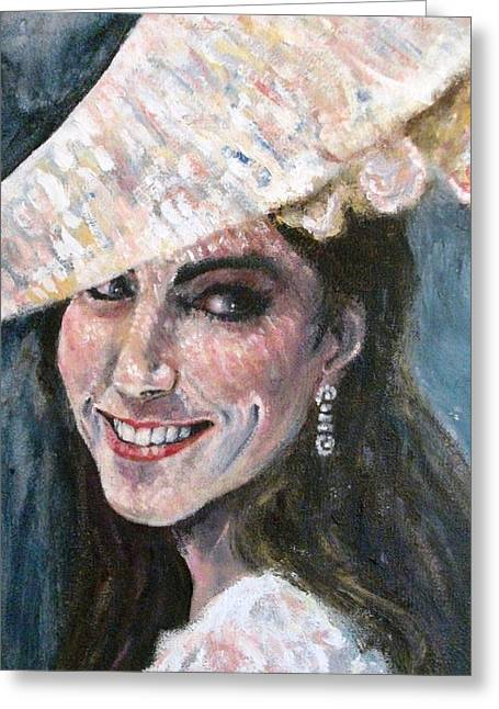 Kate Middleton Paintings Greeting Cards - Kate Middleton Greeting Card by Yvonne  Taylor
