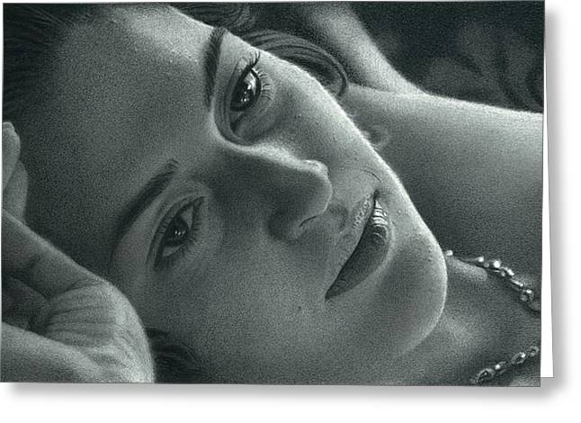 Celebrity Portraits Pastels Greeting Cards - Kate Winslet  Greeting Card by Sadashiv Sawant