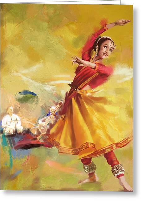 Sufi Dancer Greeting Cards - Kathak Dance Greeting Card by Catf