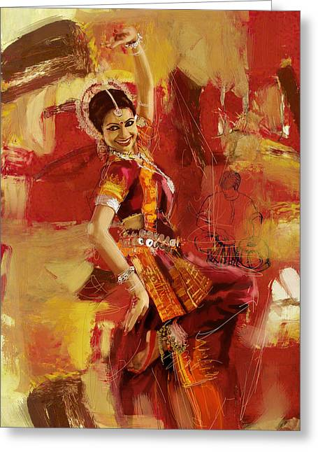 Red Art Greeting Cards - Kathak Dancer 6 Greeting Card by Corporate Art Task Force