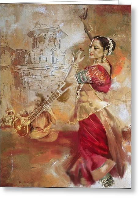 Dancer Art Greeting Cards - Kathak Dancer 8 Greeting Card by Corporate Art Task Force