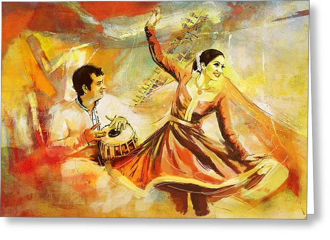 Sufi Dancer Greeting Cards - Kathak Dancer Greeting Card by Catf