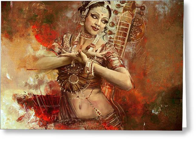 South-east Greeting Cards - Kathak dancer Greeting Card by Corporate Art Task Force