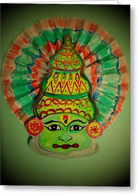 Reds Glass Art Greeting Cards - Stained Glass Greeting Card by Vineeth Menon