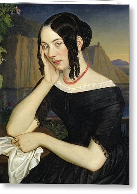 Ringlets Greeting Cards - Katharina Kern of Sterzing Greeting Card by Rudolph Friedrich Wasmann