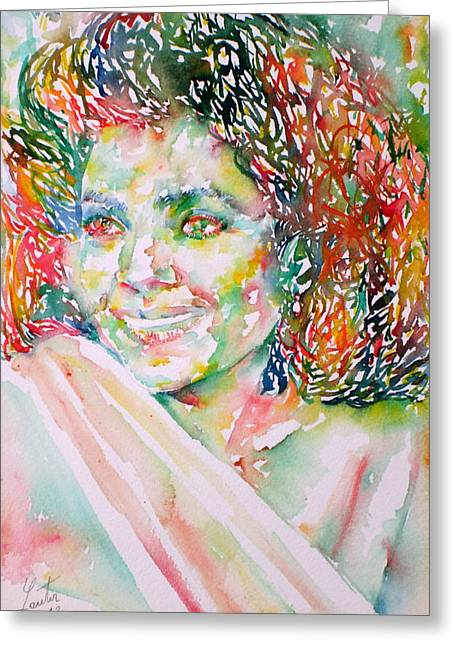Kathleen Greeting Cards - KATHLEEN BATTLE - watercolor portrait Greeting Card by Fabrizio Cassetta