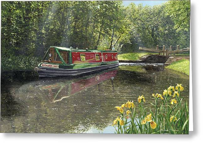 Nottingham Greeting Cards - Kathleen May Chesterfield Canal Nottinghamshire Greeting Card by Richard Harpum