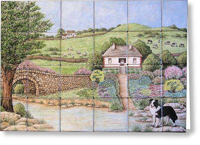 Sheep Ceramics Greeting Cards - Kathys Irish Scene Tile Mural Greeting Card by Julia Sweda
