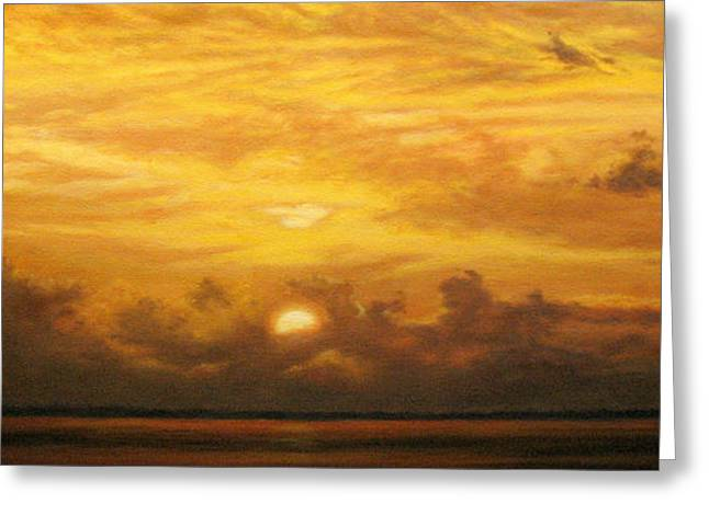 Charlotte Paintings Greeting Cards - Kathys Sunset on the Harbor Greeting Card by Mary Taglieri