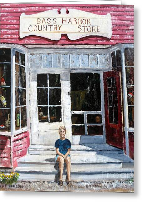 Historic Country Store Greeting Cards - Katie At Bass Harbor Maine Greeting Card by Lee Piper