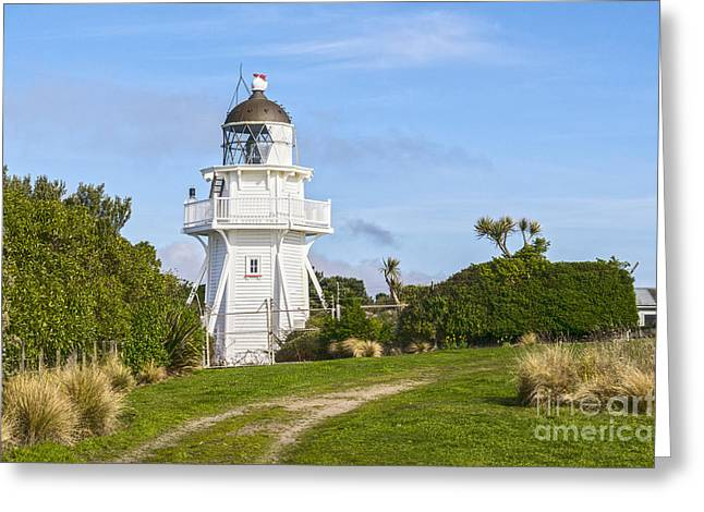 Weatherboard Greeting Cards - Katiki Point Lighthouse New Zealand Greeting Card by Colin and Linda McKie