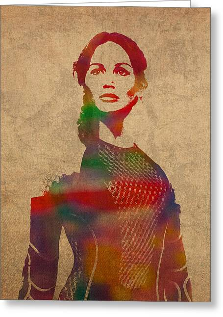 Hunger Greeting Cards - Katniss Everdeen from Hunger Games Jennifer Lawrence Watercolor Portrait on Worn Parchment Greeting Card by Design Turnpike