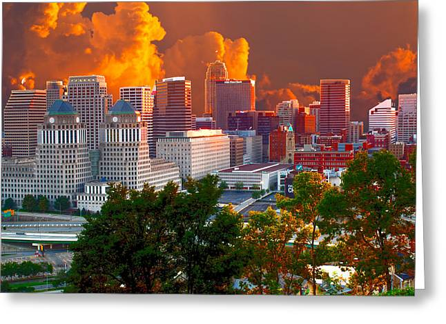 Randall Branham Greeting Cards - Katrina storm hits Cincinnati Greeting Card by Randall Branham