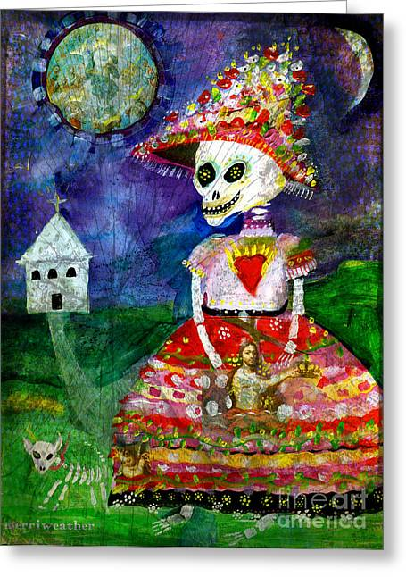 Apparel Mixed Media Greeting Cards - KATRINA walking her dog - Day of the Dead Greeting Card by Wild Colors