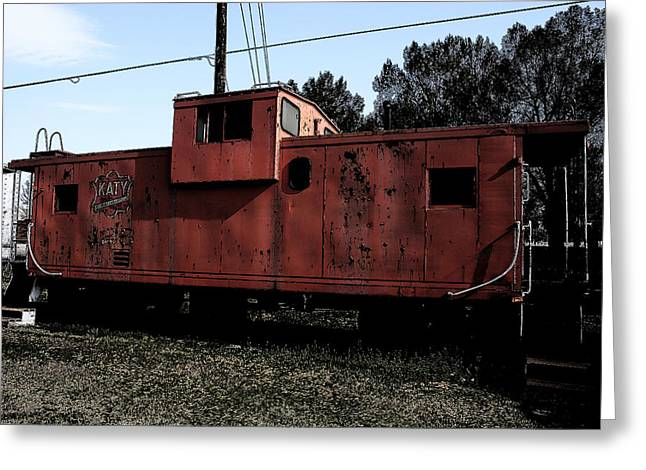 Old Caboose Greeting Cards - Katy Greeting Card by Nina Fosdick