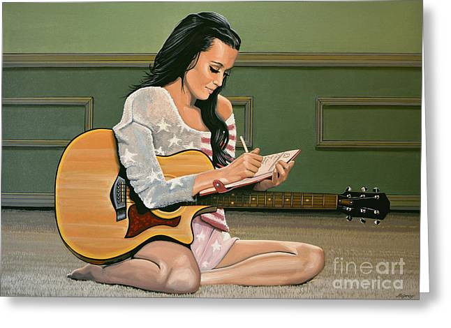 Singer Paintings Greeting Cards - Katy Perry Greeting Card by Paul Meijering