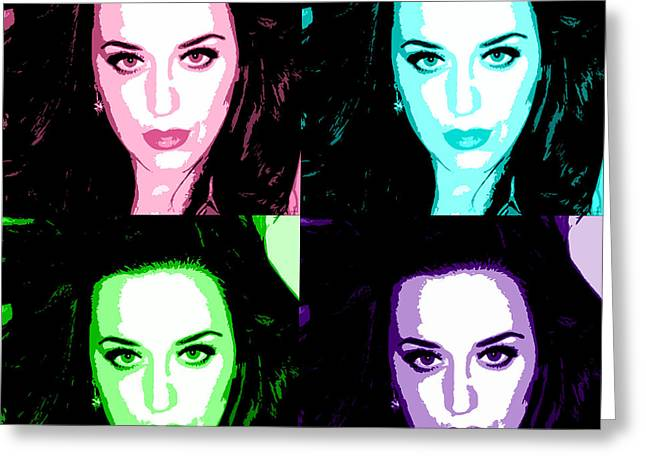 Katy Perry Greeting Cards - Katy Perry Warhol by GBS Greeting Card by Anibal Diaz