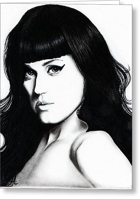 Katy Perry Greeting Cards - Katy Portrait Greeting Card by Elizabeth Moug