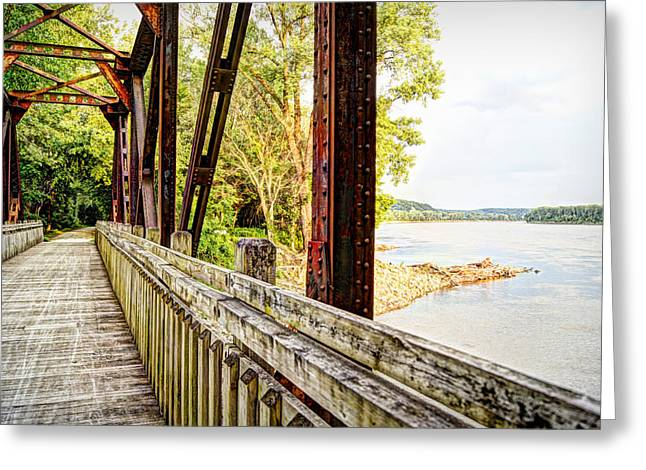 Railroad Bridge Greeting Cards - Katy Trail Near Coopers Landing Greeting Card by Cricket Hackmann