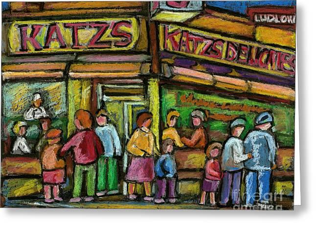 Take-out Greeting Cards - Katzs Deli Greeting Card by Carole Spandau