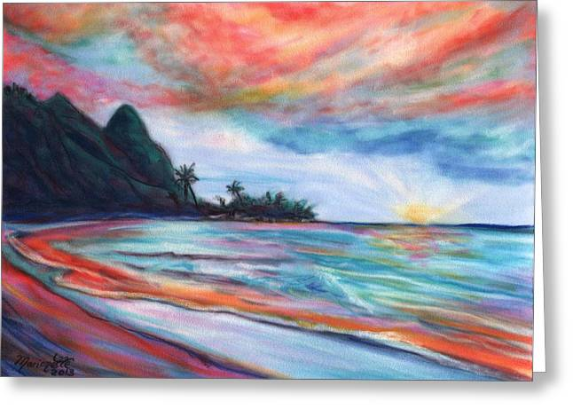 Waves Pastels Greeting Cards - Kauai Bali Hai Sunset Greeting Card by Marionette Taboniar