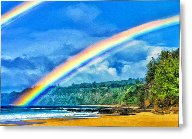 Double Rainbow Greeting Cards - Kauai Double Rainbow Greeting Card by Dominic Piperata
