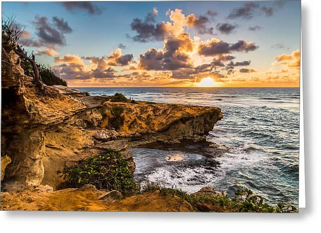 Dave Gordon Greeting Cards - Kauai Hawaii Sunrise Cliffs Greeting Card by Dave Gordon