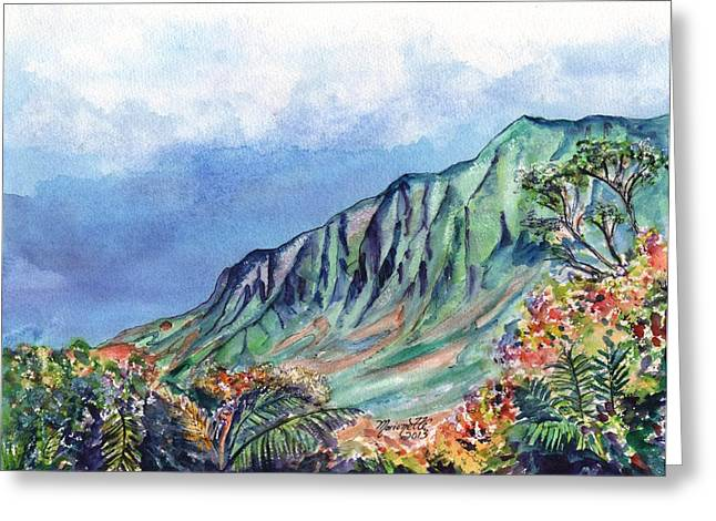 Waimea Valley Greeting Cards - Kauai Kalalau Valley Greeting Card by Marionette Taboniar