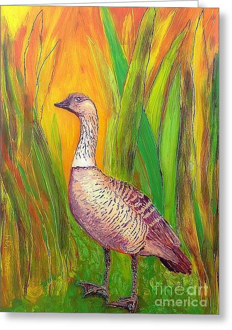 Fauna Glass Art Greeting Cards - Kauai Nene Greeting Card by Anna Skaradzinska