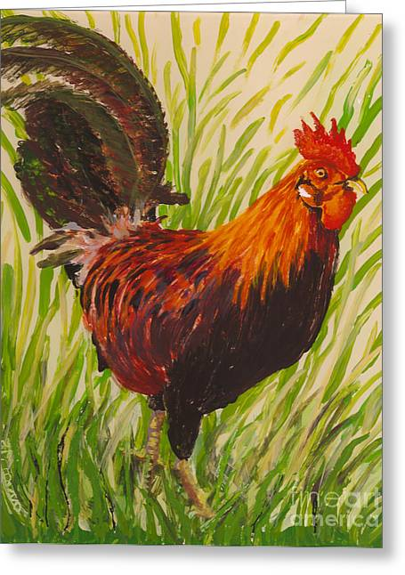 Fauna Glass Art Greeting Cards - Kauai Rooster Greeting Card by Anna Skaradzinska