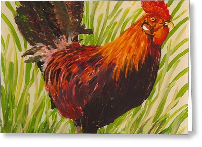 Kauai Rooster Greeting Card by Anna Skaradzinska