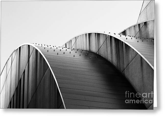 Catherine White Greeting Cards - Kauffman Center Black and White Curves Photography Greeting Card by Catherine Sherman