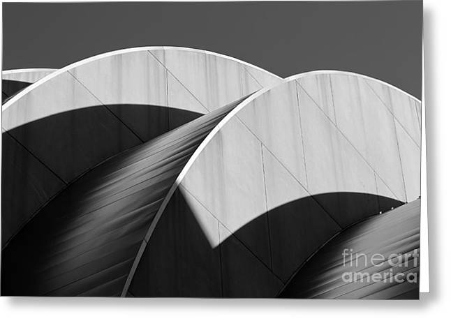 Catherine White Greeting Cards - Kauffman Center Curves and Shadows Black and White Greeting Card by Catherine Sherman