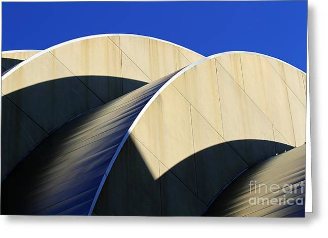 Moshe Greeting Cards - Kauffman Center Curves and Shadows Greeting Card by Catherine Sherman
