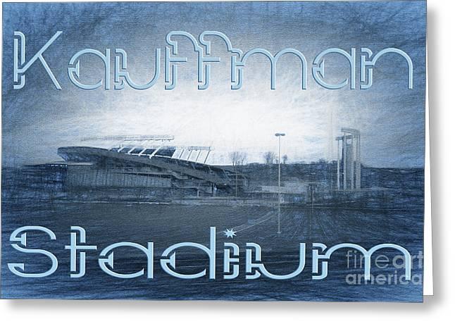 Royal Art Mixed Media Greeting Cards - Kauffman Stadium Greeting Card by Andee Design